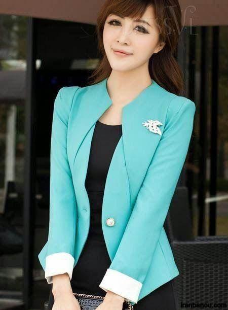 مدل کت و دامن با پارچه دو رنگ